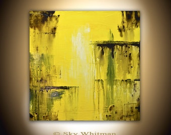 Original Abstract Modern Art Square Yellow Painting 30 x30 Abstract Art Textured Oil Painting High Gloss Sky Whitman