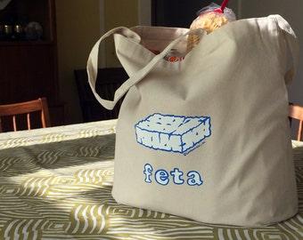 Feta Cheese Large Reusable Eco-Friendly Canvas Tote Bag-Greek gift