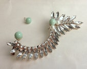 The Bridal Ear Cuff in Diamonds/Pearls/Gold Hand Painted Mint/White/Ivory