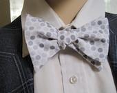 Grey on Grey Shimmery Polka Dot Bow Tie