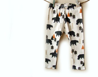 Baby leggings, baby clothes, in camping bears