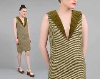 Vintage 60s Striped Wool Dress Deep V Neck Velvet Collar Wiggle Sheath Dress Olive Green Ivory Small XS S