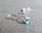 Glass Drop Earrings, Blue White Dangle Earrings, Blue Spotted Earrings, Lampwork Earrings, Wire Infinity Earrings, Sterling Silver Earrings