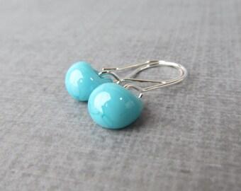 Robins Egg Blue Small Dangles, Blue Earrings, Lampwork Earrings Robins Egg Blue, Blue Glass Drop Earrings, Sterling Silver Wire Earrings