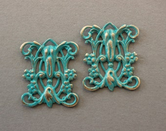 Verdigris Patina Brass Art Deco Floral Filigrees