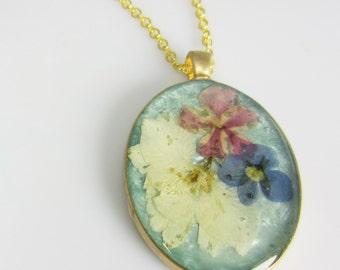 Pastels, Pressed Flower Pendant, Real Flowers,Pressed Flower Jewelry, Resin (1848)