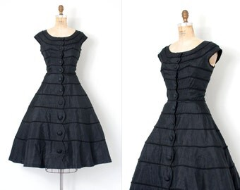 vintage 1950s dress / 50s black silk party dress / Scallops Edge