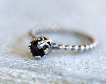 Black onyx ring, black gemstone ring, sterling silver ring, made to order ring, stacking ring