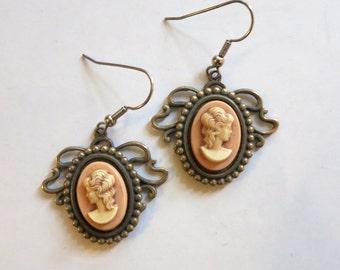 Mid Century Cameo Portrait Dangle Earrings