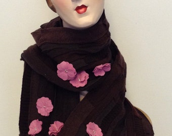 Art to wear Cashmere cherry blossoms scarf shawl, Free shipping in the US.