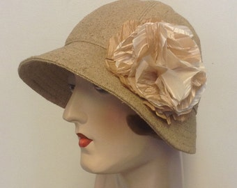 SALE. Silk fabric cloche, flapper hat, gatsby hat, travel sun hat, fabric flower.