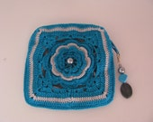 Petite Rose Pouch in Teal and Light Gray / Fully Lined