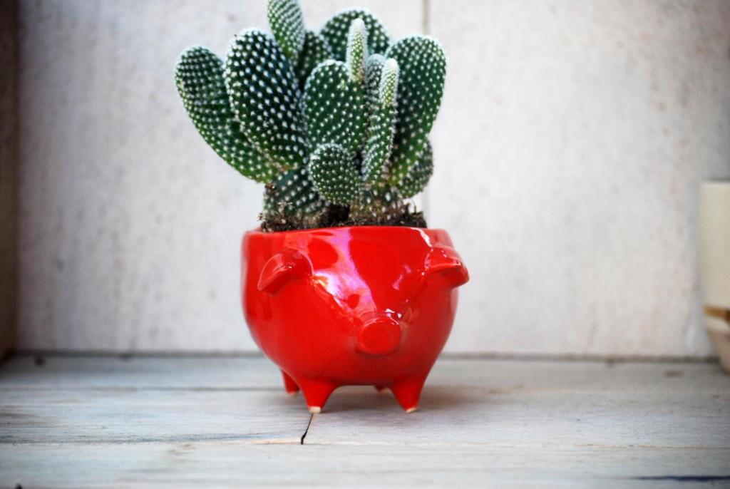 Jardinera de cer mica cerdo dise o vintage en rojo por for Jardineras de ceramica