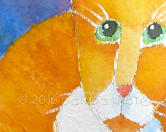 Original ACEO Cat Art. Gift-Bearing Whimsical Ginger Cat. Watercolor on 300# Arches Rag Paper. Worldwide Shipping.