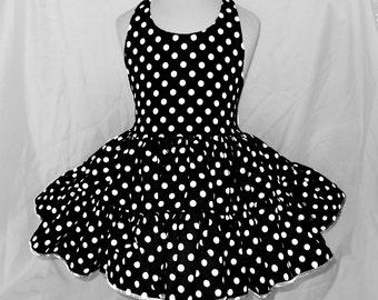 Black and White Polka Dot Twirly Halter Dress Sundress with full ruffled skirt Infant Baby Toddler Girls Small dots black and white dress