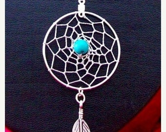 "ON SALE DREAM In Turquoise Dream catcher pendant necklace Sterling silver with 20"" chain"