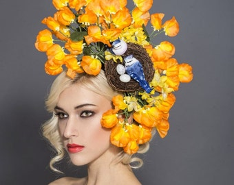 Cute Orange Bird nest fascinator, Bird nest headband, Kentucky derby hat, Melbourne cup hats