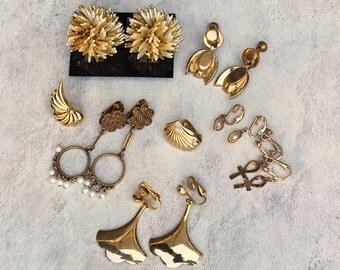 Vintage Earrings, Lot of Seven Clip On and Screw-back  Earrings, Gold Tone Women's Earrings