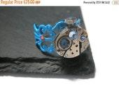 Valentines sale Jewelry Steampunk Ring Vintage Watch Ring clockwork Light Sapphire Montana Sapphire Swarovski crystal Blue Filigree