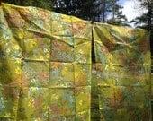 Vintage Semi Sheer Flocked Flower Garden Retro Curtains NOS  Carissa