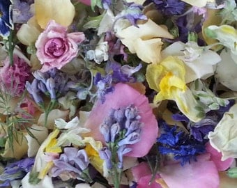Dry Flowers, Wedding Confetti, Real Flowers, Craft Supplies, Dried Wildflowers, Wedding, Decoration, Aisle Decor, 36 US cups of Confetti