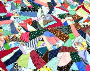 Lovely Vintage 1950s 60s Handmade Crazy Patchwork Quilt