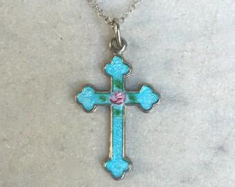 Vintage Aqua Blue & Pink Rose Enamel Cross Sterling Necklace