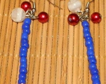 Red White and Blue Dangling Beaded Earrings