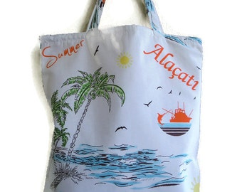 Globetrotter canvas tote bag with palm trees and fishing boat -Beach bag- Book bag-School bag- Lined carry all tote bag