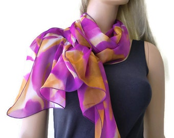 Purple iris and caramel brown long chiffon scarf -Parisian Neck Tissu