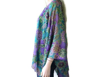 Purple Green and gold- Kimono cardigan - Fancy gold touched kimono chiffon kimono-Lagenlook Chiffon oversize Kimono-Ruana