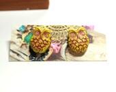 Owl Post Earrings - Mustard Yellow Owl Earrings