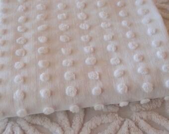 "Vintage Chenille Fabric - Bates White Popcorn, 24"" x 24"" - 300-2"