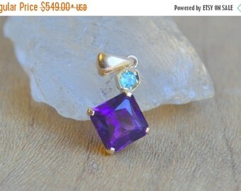 SALE Amethyst from Uruquay set in 14 Kt Yellow Gold with Paraiba Tourmaline Hexagon Accent