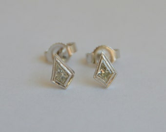 Yellow Diamond Studs, white gold, kite earrings, art deco diamond studs, art deco earrings, yellow diamonds, kite studs, gifts for moms
