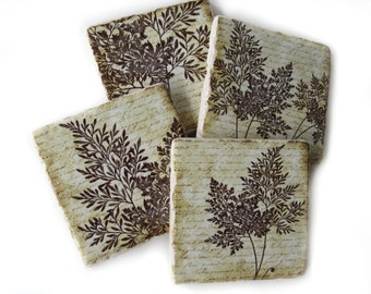 Fern Decor Set of 4 Coasters, Natural Colors Rustic Coasters, Drink Coaster Set, Brown Table Coasters, Housewarming Gift