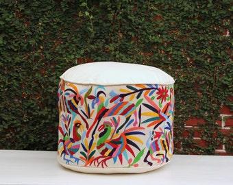 Round Multi Colored Pouf Flour Cushion Ottoman