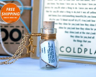Yellow by Coldplay - Romantic Song in a Bottle Necklace - Coldplay - Music Necklace - Music Jewelry - Anniversary - Gift Wrapped Ships fast!