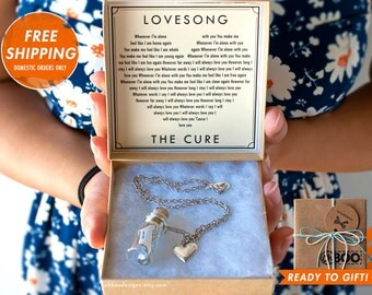 Love Song in a Bottle Necklace - Lovesong by The Cure - Bottle Necklace - Just Like Heaven - Anniversary Birthday - Gift Ready Ships fast!