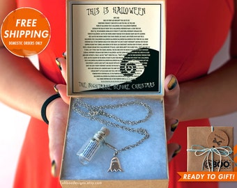 Halloween Song in a Bottle Necklace, This is Halloween, The Nightmare Before Christmas,  Music Bottle Necklace - Gift Ready Ships fast!