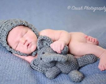 SALE Crochet 6.5 inch Lil Elephants Newborn Photo Prop or Gift Idea