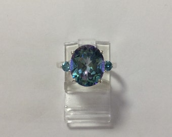 Accented light blue Mystic topaz ring