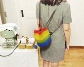 Rainbow bucket, backpack, wool felt, 100% handmade