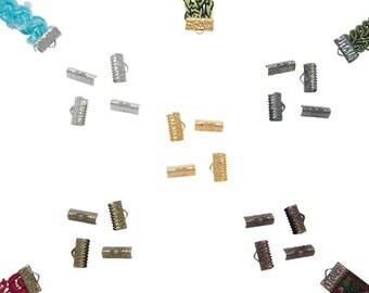 20pcs.  13mm  (1/2 inch)  Mixed Finish Ribbon Clamp End Crimps - Artisan Series