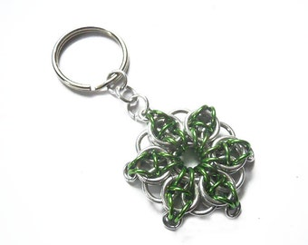 Green star key chain, Green and silver star, Small green star key ring, Celtic Visions Star chainmaille weave