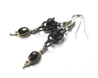Gothic earrings, Black onyx earrings, Black and silver chainmaille jewelry
