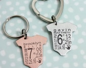 Baby Announcement Baby Statistics Stats Keyring Keychain New Baby Gift for Dad Baby Gift for Mom Baby Weight Time Date Keepsake Baby Memento