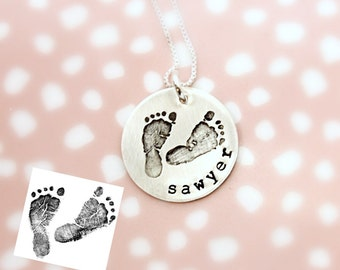 Actual Footprints Necklace - New Mom Necklace - Stillbirth - Remembrance Memorial Necklace - Silver, Rose Gold, Yellow Gold