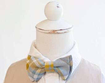 Bow Tie, Steel Blue, Grey, Mustard Organic Madras Plaid, Bow Ties, Boys Bow Ties, Baby Bow Ties, Bowties, Ring Bearer, Bow ties For Boys