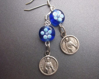 Vintage Religious Assemblage Earrings Handblown Glass Beads Virgin Mary Medals